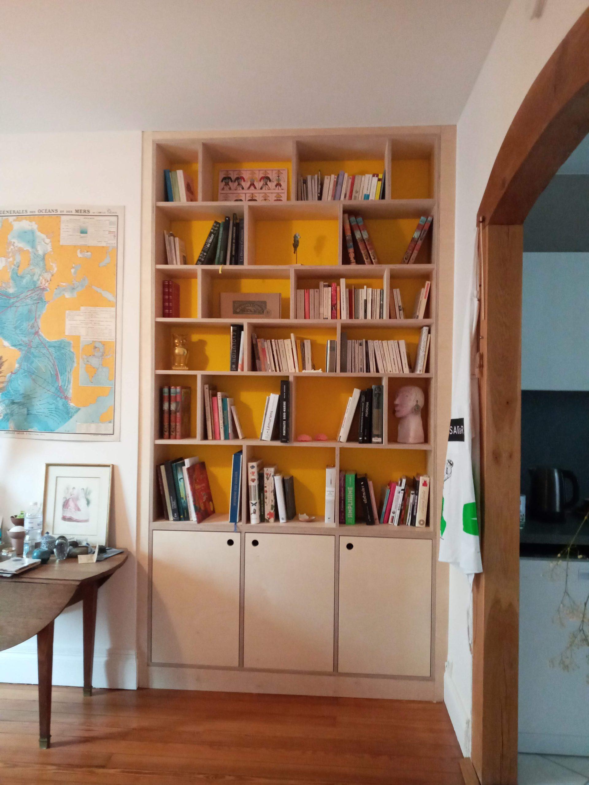 Bibliotheque bois sur-mesure normandie